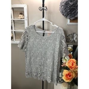 Lace sheath grey top — gorgeous piece!